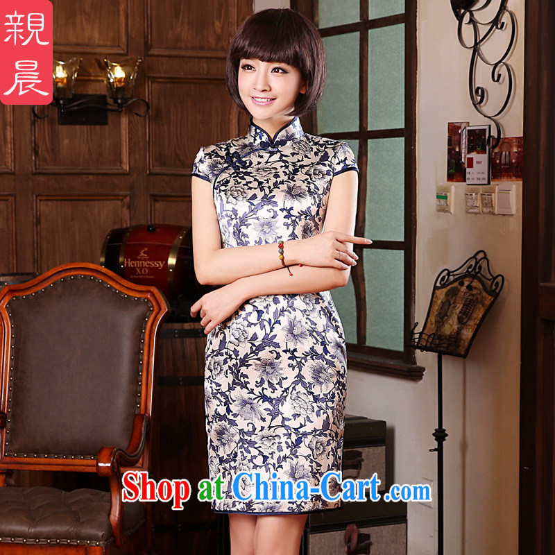 pro-am 2015 new summer upscale silk sauna silk blue and white porcelain retro short, improved cheongsam dress dress blue and white porcelain M - waist 70cm, and the pro-am, shopping on the Internet