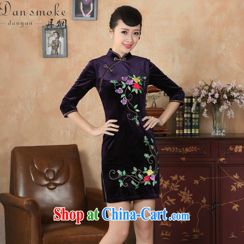 Dan smoke cheongsam dress Chinese Chinese improved the collar stretch the wool embroidery, short sleeves cheongsam dress autumn - B violet 2 XL