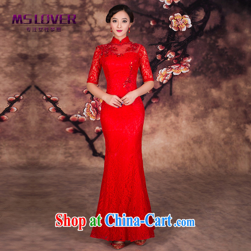 MSLover lace cuff in lace decals crowsfoot cultivating cheongsam toast winter clothing long bridal dresses QP 141,203 red L