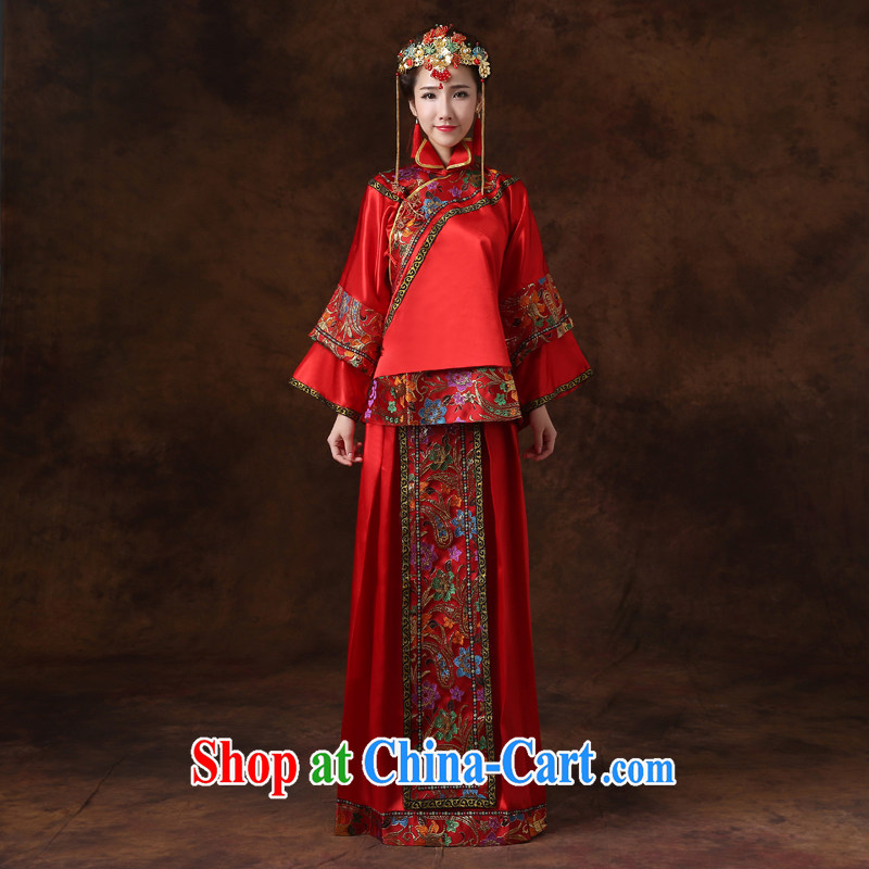 Jie MIA Sau Wo service bridal gown Sau kimono costumes bride is married Yi Chinese wedding toast clothing wedding dress dresses red are code
