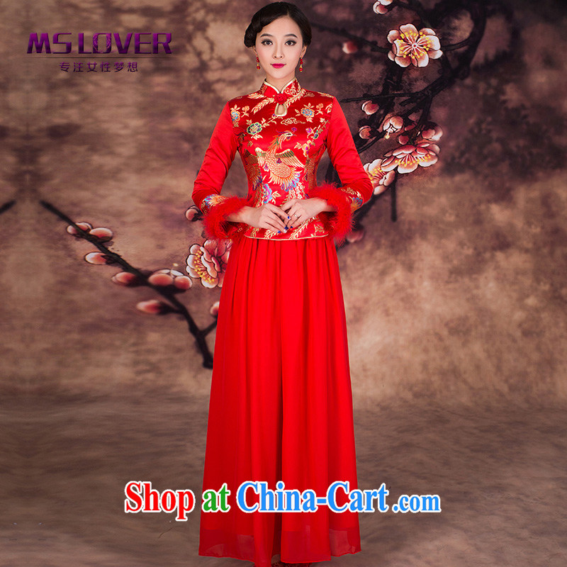 Embroidered MSLover Fung and lint-free cotton swab set toast dress clothes Bridal Fashion new winter dress wedding dresses long sleeved QP 141,205 red XL