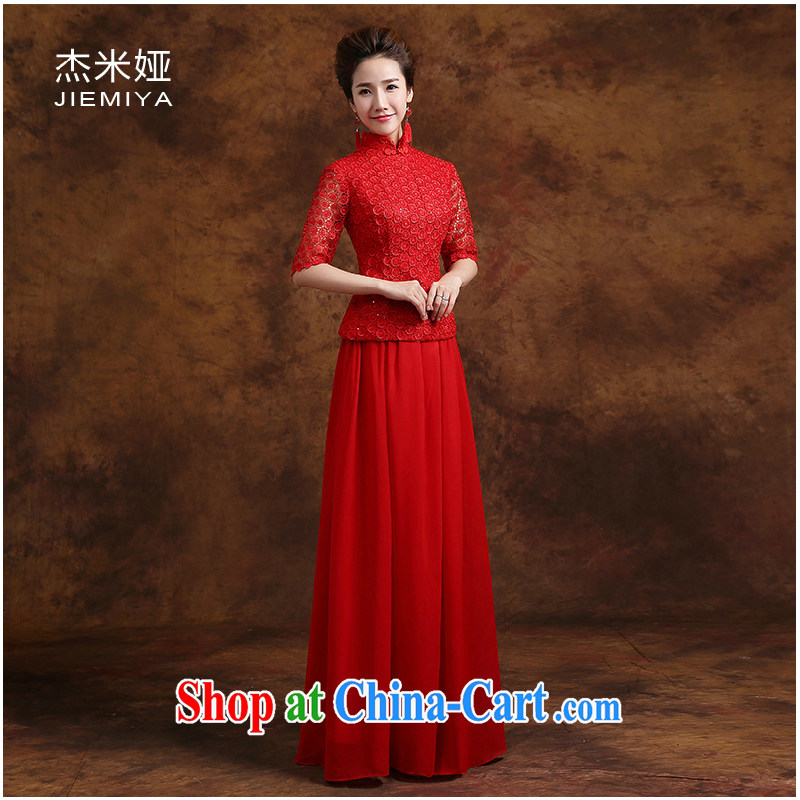 Kit MIA dresses 2014 new Bridal Fashion toast clothing lace cuff in long marriage dress two-piece red XXL