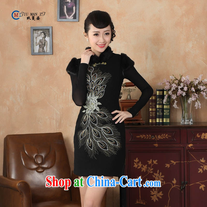 Ko Yo vines into colorful spring and autumn 2015 new Chinese fashion is noble gross for classical-tie-clip elegant short-sleeved qipao Y 0009 black 175_2 XL