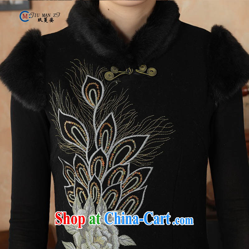 Ko Yo vines into colorful spring and autumn 2015 New Tang with stylish hair is gross and elegant classic for the tie-clip elegant short-sleeved qipao Y 0009 black 175/2 XL, capital city sprawl, shopping on the Internet