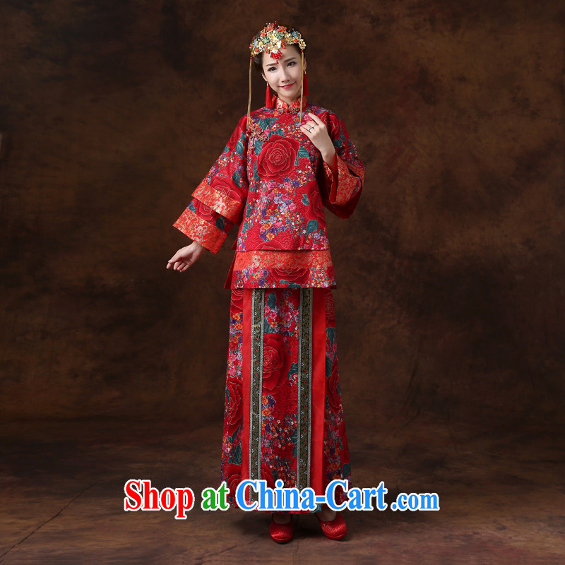 Jie MIA 2014 new wedding dresses-su Wo Service Bridal Chinese bows served long-sleeved wedding dresses show kimono red are code