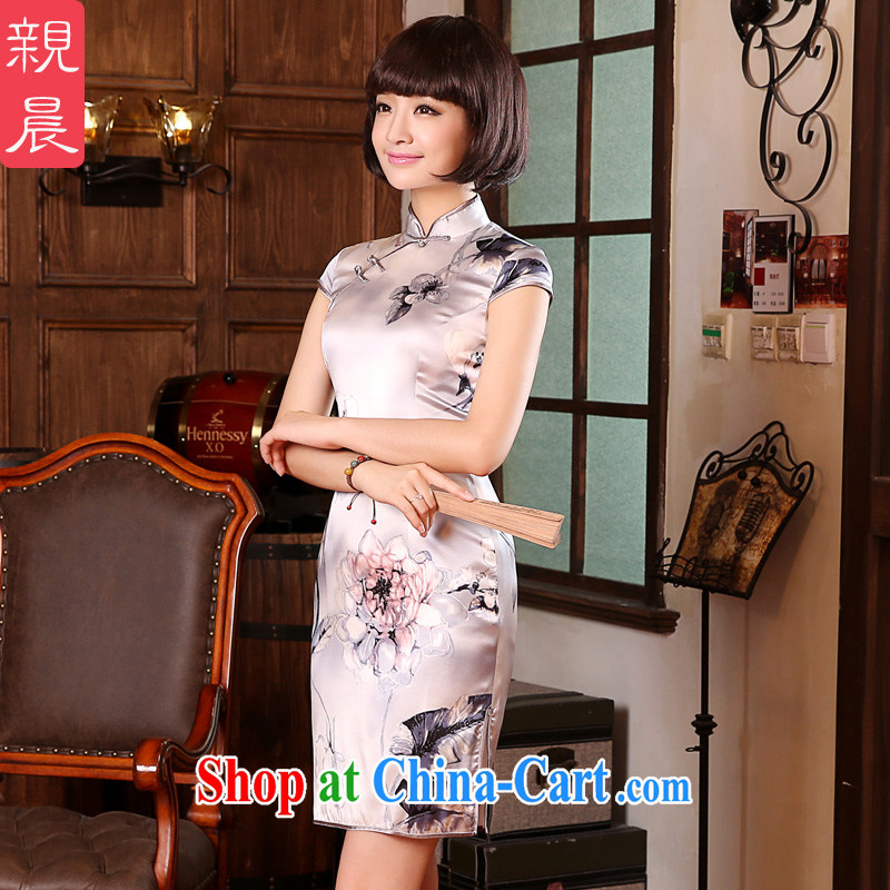 The pro-am 2015 as soon as possible new summer day silk retro improved stylish short sauna Silk Cheongsam dress short-sleeved M - waist 70 CM