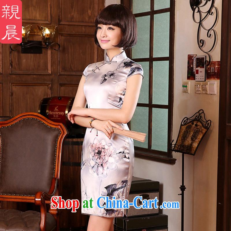 The pro-am 2015 as soon as possible new summer day silk retro improved stylish short sauna Silk Cheongsam dress short-sleeved M - waist 70 CM