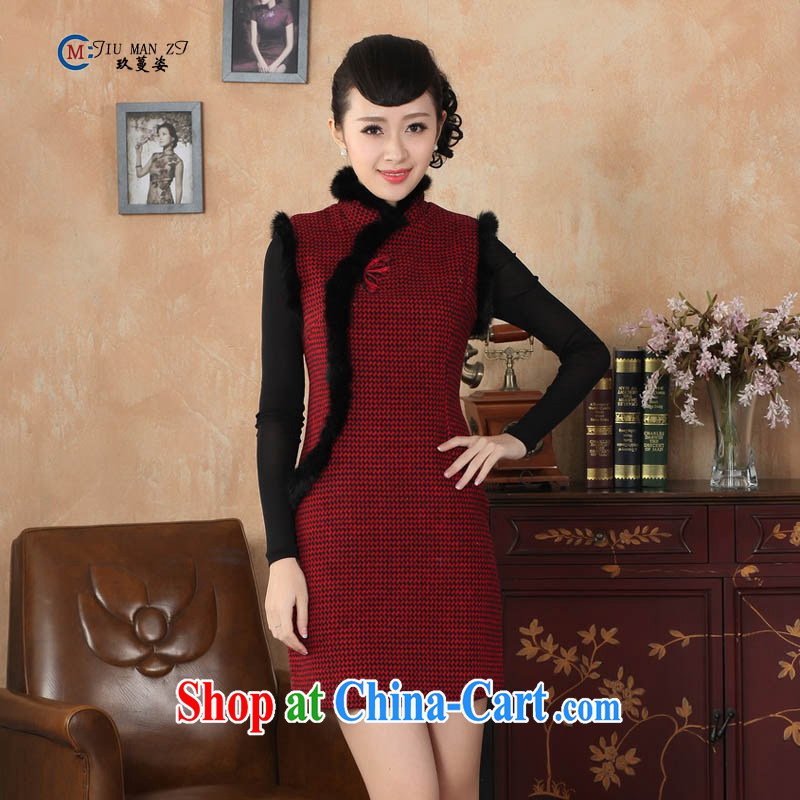 Ko Yo vines into colorful spring 2015 New Tang with stylish wool? rabbit hair, collar retro improved grid style short-sleeved qipao Y?Y 0031 0031 165 _L