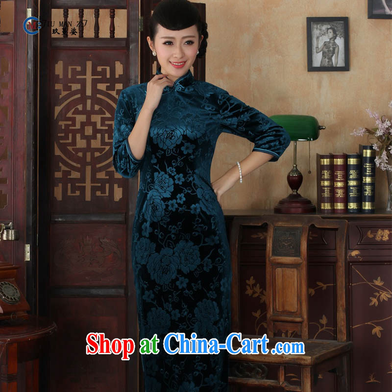 Ko Yo vines into colorful spring 2015 New Tang is stylish and stretch the wool style solid color ramp ends, for retro elegant 5 cuff long cheongsam T T 0002 0002 180/3 XL