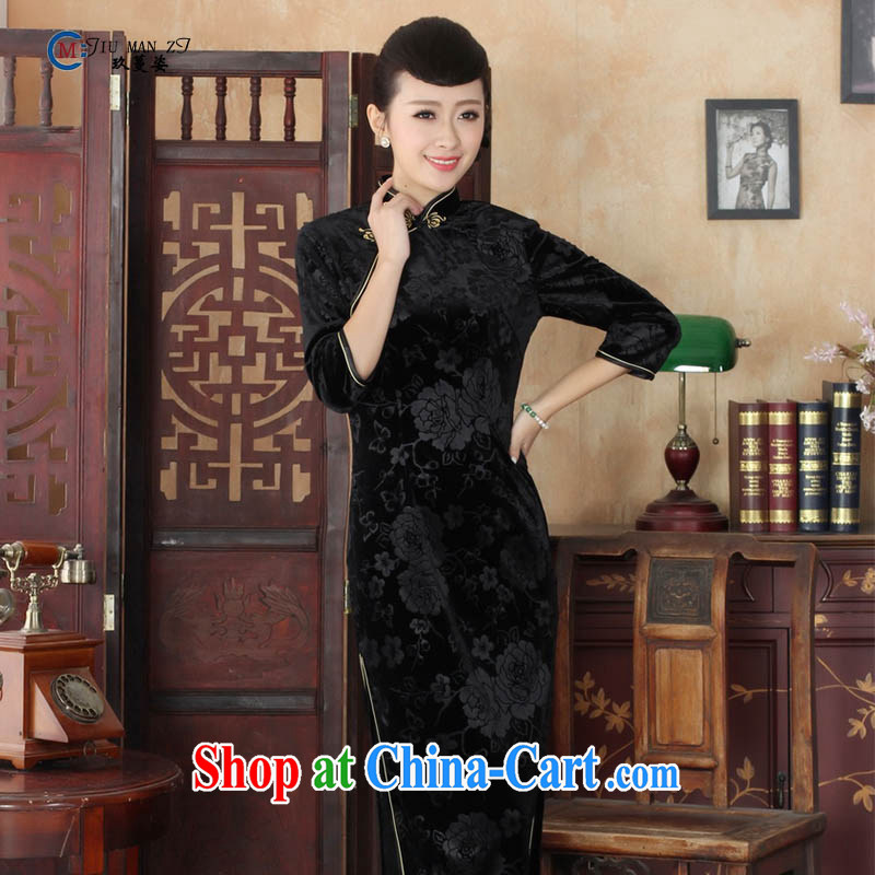 Ko Yo vines into colorful spring 2015 New Tang is stylish and solid color stretch the wool Retro is a hard-pressed the collar and elegant 5 long sleeves cheongsam T 0002-A T 0002-A 180/3 XL