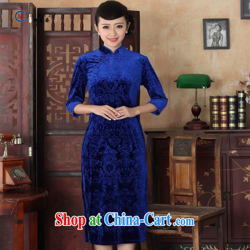 Ko Yo vines into colorful spring and autumn 2015 New Classic short spring loaded gold velour style solid color ramp ends, for an elegant and classic 5 short sleeves cheongsam TD TD 0039 0039 175_2 XL