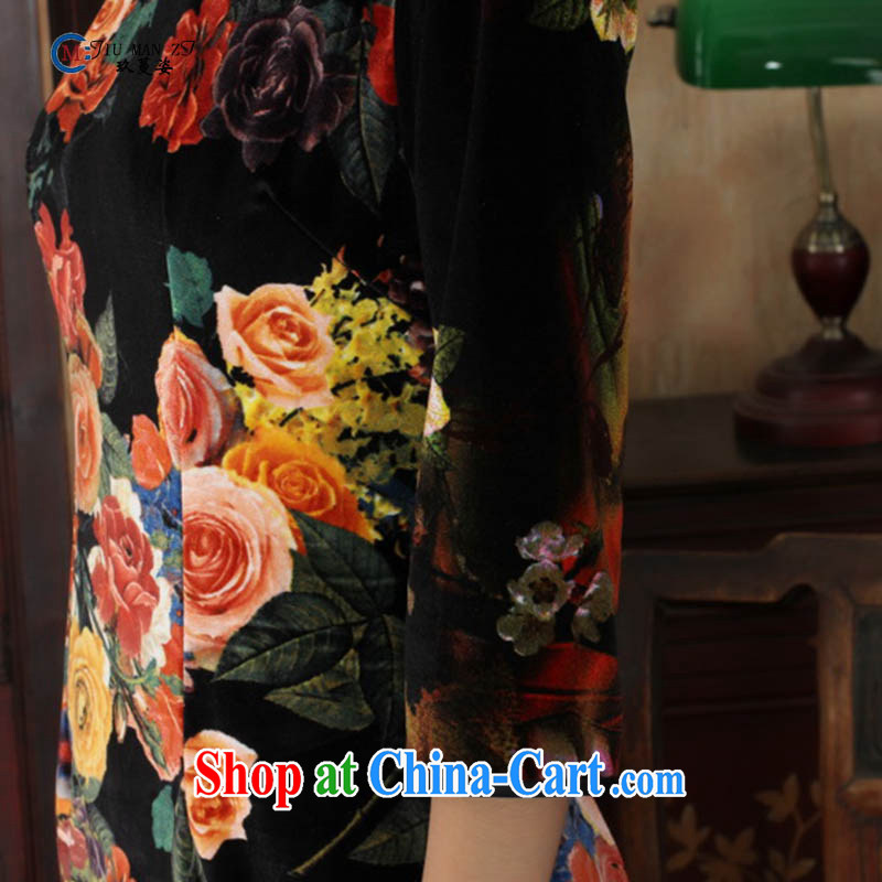 Ko Yo vines into colorful spring 2015 New Tang with stylish stretch the wool air painting flowers is hard-pressed for the retro 5 short sleeves cheongsam TD TD 0040 0040 175/2 XL, capital city sprawl, shopping on the Internet