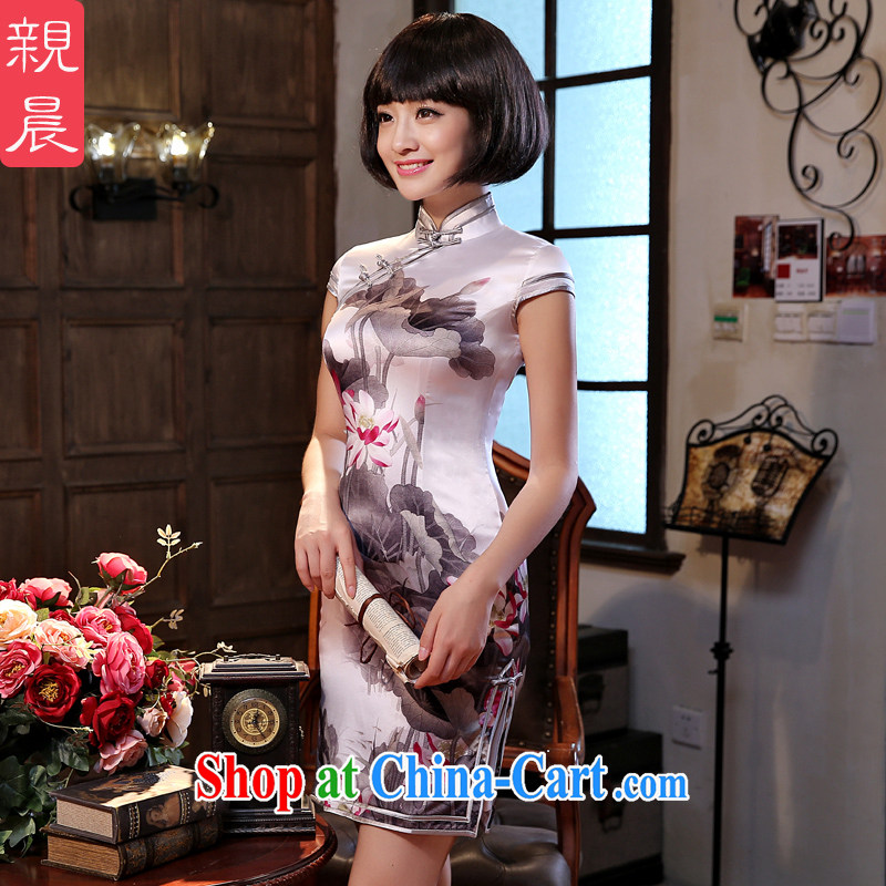 The pro-am 2015 as soon as possible new Daily Beauty retro silk improved stylish sauna Silk Cheongsam dress short-sleeved XL - 20 day shipping