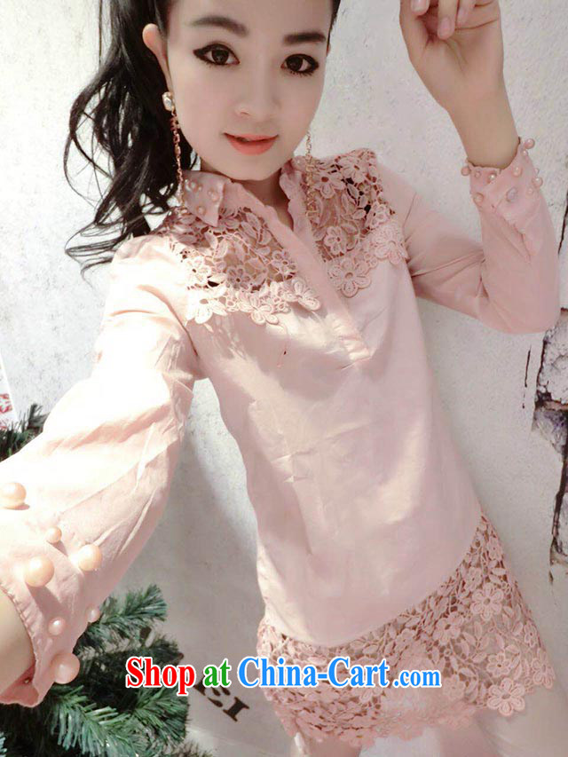 Red Star leisure flowers Openwork decoration Pearl cuff long shirt T-shirt pink L