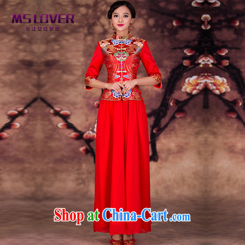 MSLover tapestry of tight skirt set new bridal gown Chinese long-sleeved dresses retro wedding toast QP serving 141,208 red XL _waist 2FT 3_