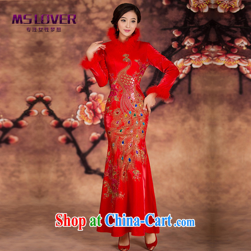 MSLover crowsfoot quilted new winter cheongsam Chinese brides marry Yi wedding dress winter clothing toast clothing qipao QP 141,212 red XL _waist 2 feet 3_