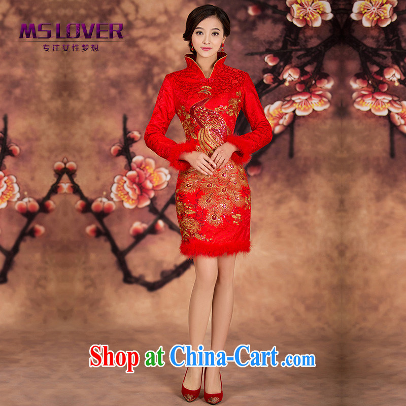 The MSLover collar embroidered Bong-quilted short cheongsam dress new winter clothes bridal toast cheongsam long-sleeved gown, winter dress QP 141,213 red XL (waist 2FT 3)