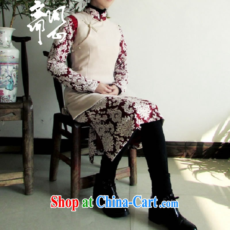 q heart Id al-Fitr election asked as soon as possible and winter clothes New and Improved Chinese wind-tie outfit WXZ 1052 dark blue cheongsam + beige vest 1128 XS, ask heart ID al-Fitr, shopping on the Internet