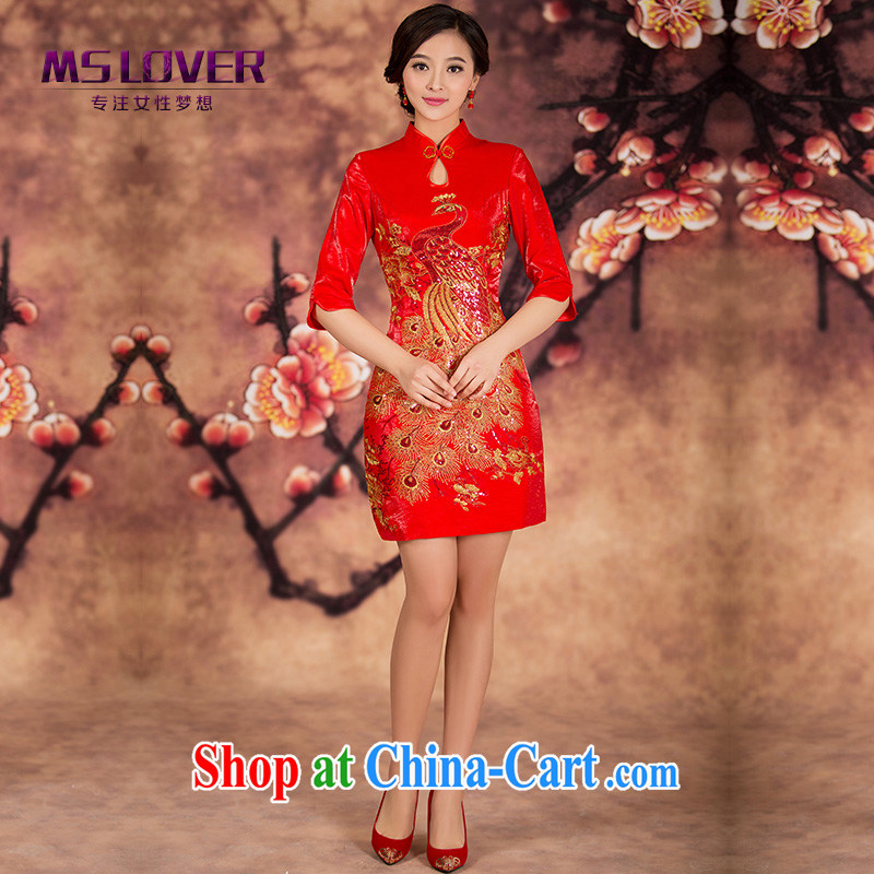 In MSLover cuff embroidered Bong-short dresses bridal wedding dresses wedding improved short bows clothes dresses winter clothes QP 141,214 red XL _waist 2 feet 3_