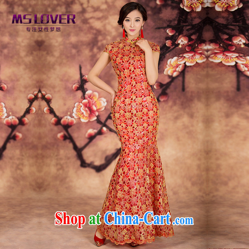 MSLover wedding dress crowsfoot cheongsam stylish wedding dresses antique dresses red toast serving long QP 141,216 red XL (waist 2 feet 3)