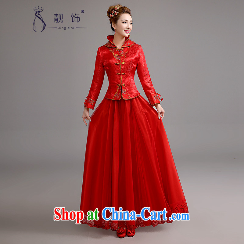 Beautiful ornaments 2015 new cheongsam long red winter bridal suite antique toast long-sleeved clothes red cheongsam XL