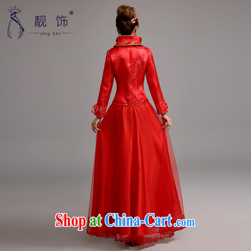Beautiful ornaments 2015 new dresses long, red winter bridal suite antique toast long-sleeved clothes red cheongsam XL, beautiful ornaments JinGSHi), and shopping on the Internet