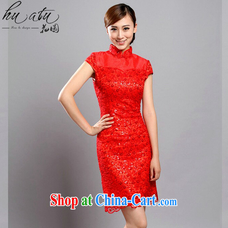 Take the cheongsam 2015 women, summer Chinese improved the collar embroidered Pearl lace cheongsam bridal dresses banquet dresses red 2 XL