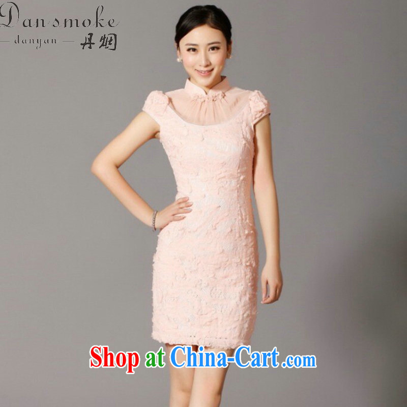 Dan smoke 2015 cheongsam dress, summer Chinese improved the collar embroidered Pearl lace cheongsam bridal dresses cheongsam banquet 893 #pink 2 XL