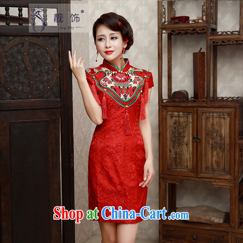 Beautiful ornaments new 2015 marriages short cheongsam improved Chinese wedding toast serving red short cheongsam S