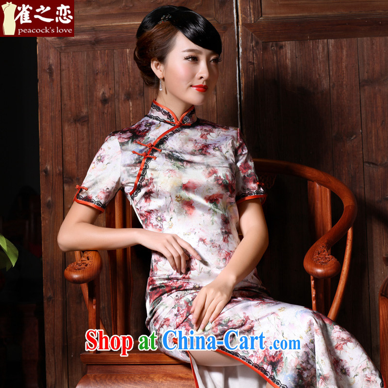 Birds love the Zhu Door Spring 2015 new beauty, long Silk Cheongsam dress suit M