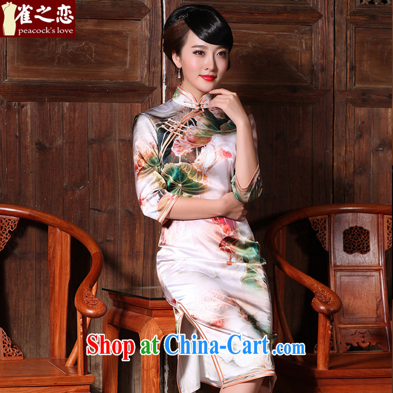 Birds love brought incense dust 2015 spring new Noble and elegant antique cuff in improved Silk Cheongsam floral XL
