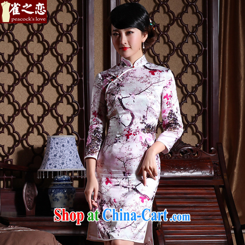 Bird lovers of smaller, lighter, Colombia 2015 spring new facade 7 retro-style cuff short Silk Cheongsam floral XL