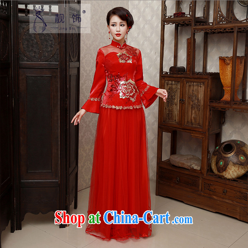 Beautiful ornaments 2015 new winter, long red outfit Kit marriages served toast red cheongsam XL