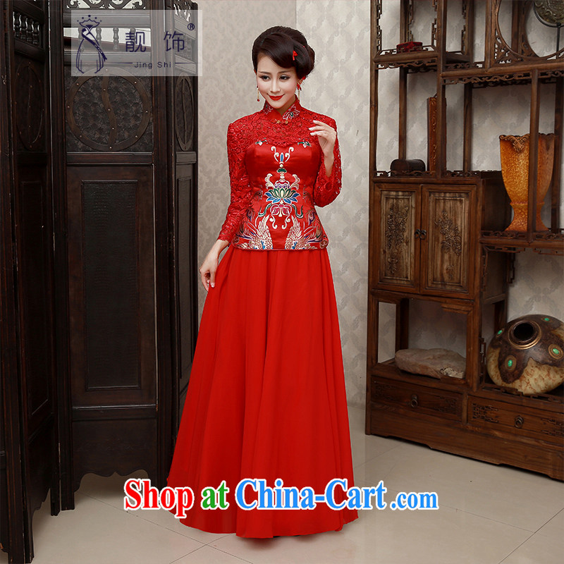 Beautiful ornaments 2015 new winter outfit red lace long, long-sleeved toast Service Bridal red qipao 004 XL