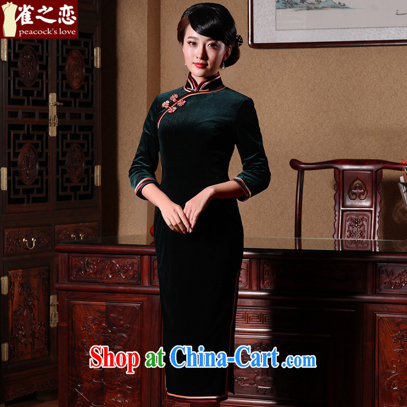 Bird lovers of 2015 spring new retro style cheongsam dress stylish improved long velvet cheongsam MOSS XXL - pre-sale 10 days out