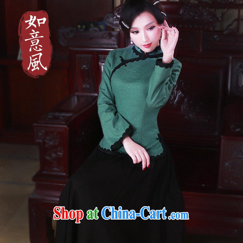 ruyi, 2015 new original Chinese qipao Ms. T-shirt autumn and winter wind China Tang Women's clothes 5062 hole blue XXL