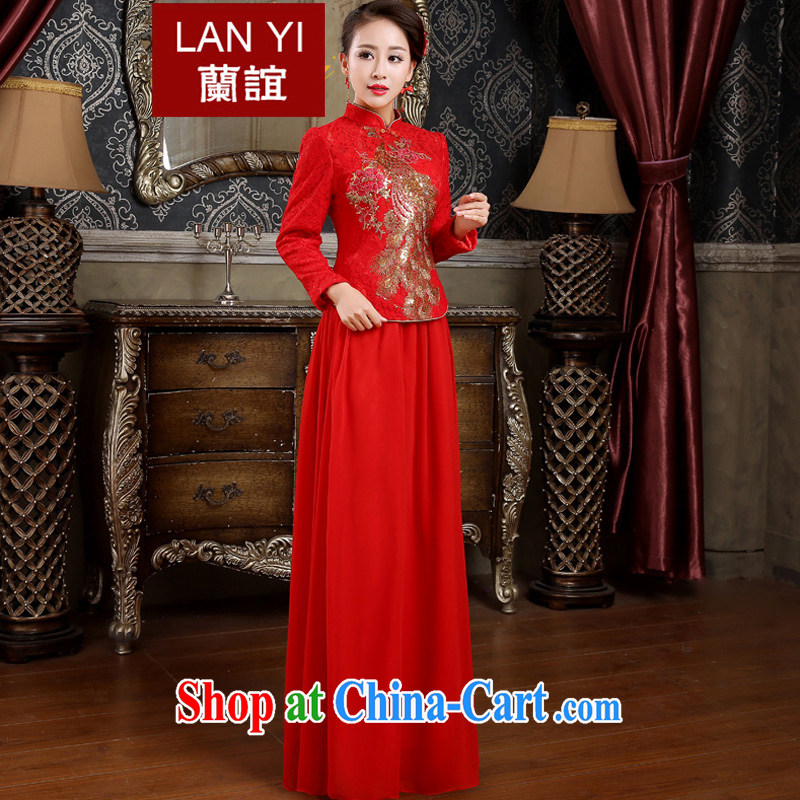 (Quakers, bride toast wedding cheongsam dress autumn and winter new retro improved cheongsam dress Kit red thick winter, wedding dresses dress quilted XXL paragraph code waist 2.4 feet
