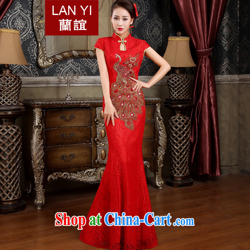 Friends, bride toast wedding cheongsam dress 2015 bridal spring new retro improved crowsfoot cheongsam dress Phoenix embroidery red marriage ceremony Phoenix tail wood drill M code waist 2 feet