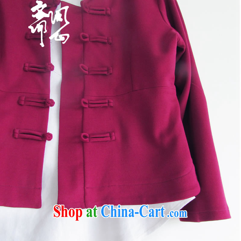 Ask a vegetarian _ask heart -- Winter female new improved Chinese wind manual tray snap jacket improved Chinese WXZ 1049 wine red XS