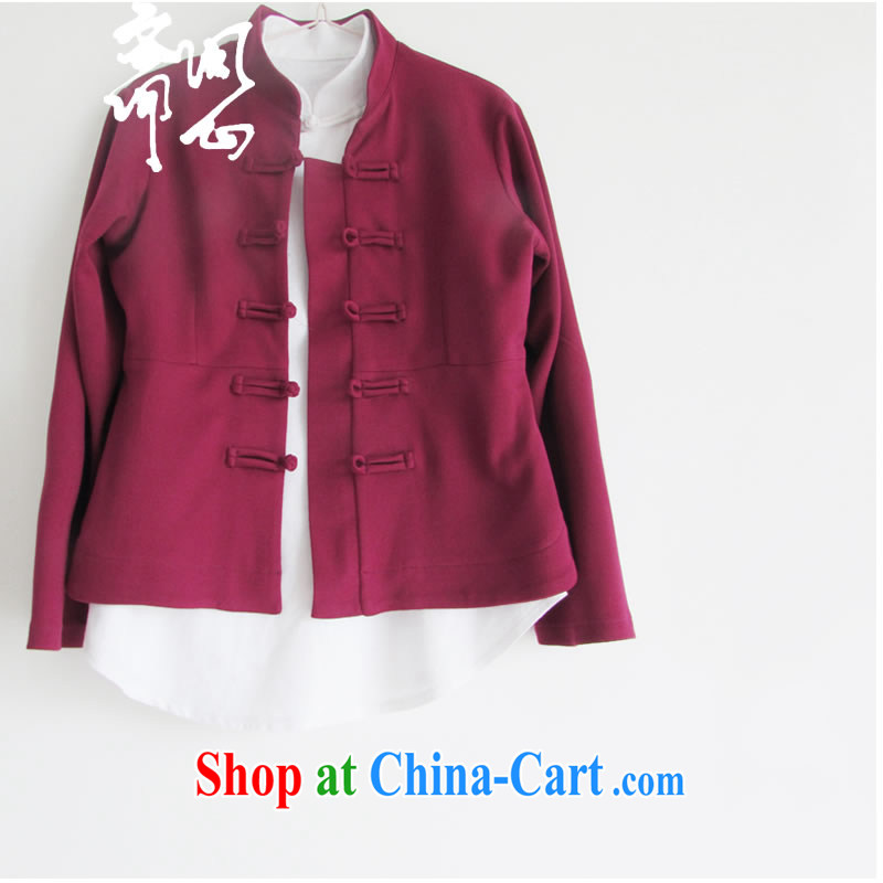 q heart Id al-Fitr (ask heart health winter female new improved Chinese wind manual tray snap jacket improved Tang replace WXZ 1049 wine red XS, ask heart ID al-Fitr, shopping on the Internet