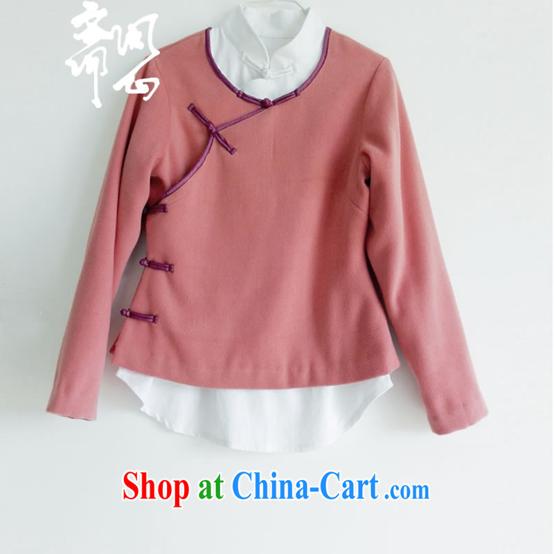 q heart Id al-Fitr election asked as soon as possible and winter female new, improved Chinese wind-back of Cashmere color Chinese WXZ 1047 dark gray L, ask heart ID al-Fitr, shopping on the Internet