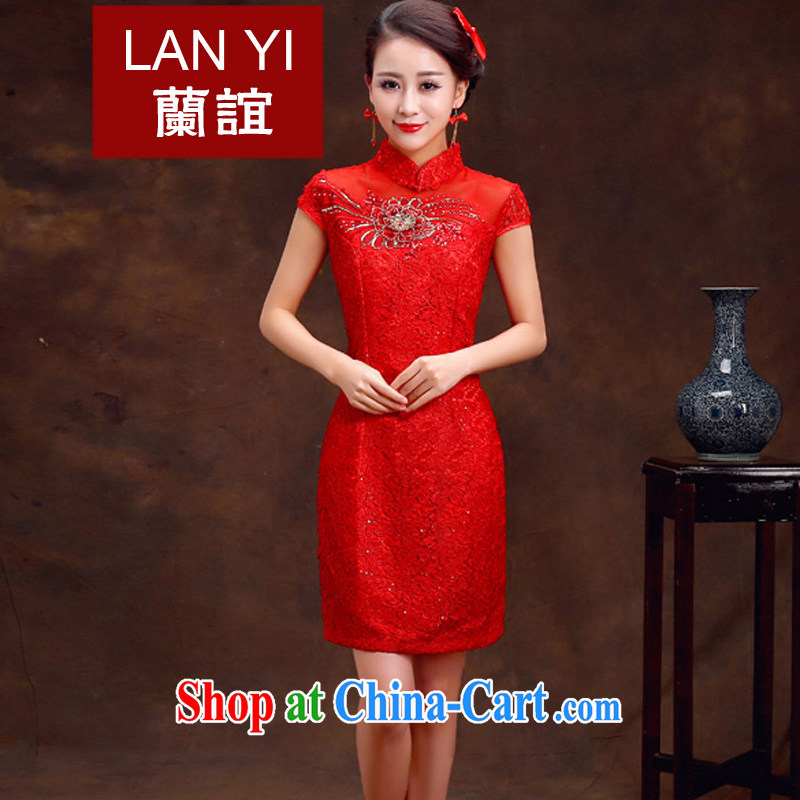 (Quakers, spring 2015 new bride toast wedding cheongsam dress retro improved cheongsam dress red short-sleeved wedding ceremony quality assurance, the ceremony