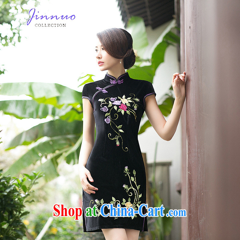 Kam-world the Hyatt spring and summer with new style embroidery flowers, for retro elegant refined modern day beauty package and graphics thin elegant dresses, velvet cheongsam black XXL