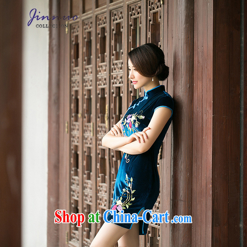 kam world the Hyatt 2015 new style spring loaded embroidery flowers China wind cheongsam improved stylish retro daily beauty and elegant gold velour short skirts dresses blue XXL