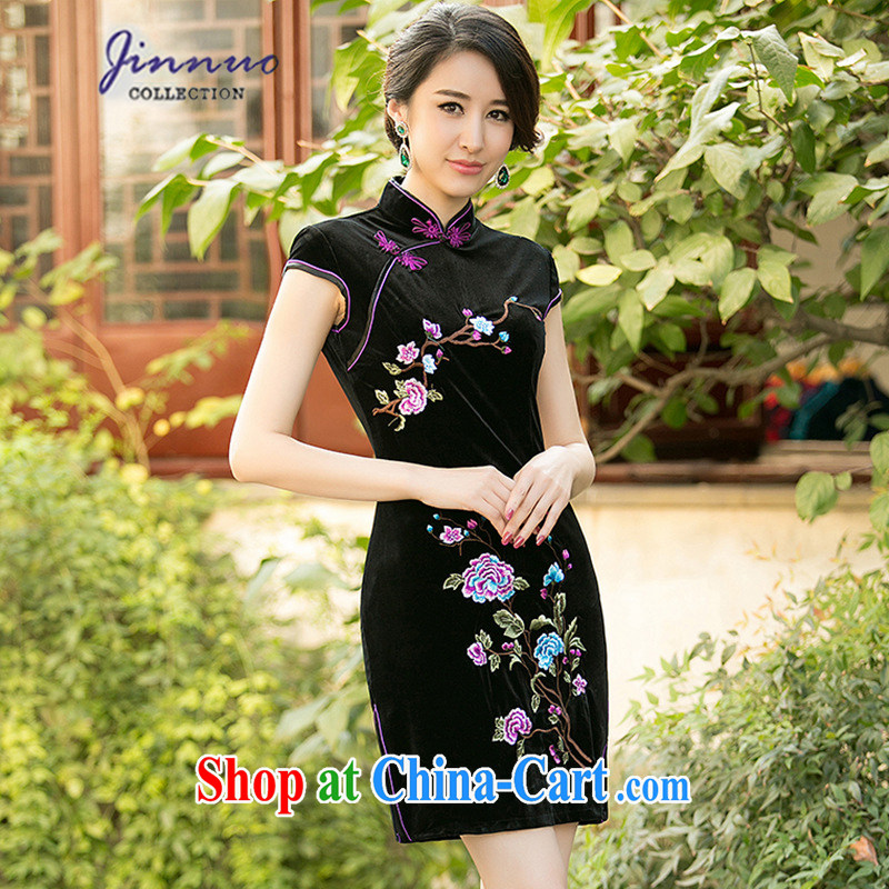kam world the Hyatt Spring Summer of aristocratic ladies elegant antique and elegant embroidery flowers wine red gold velour cheongsam stylish improved short daily double-yi skirt black XXL
