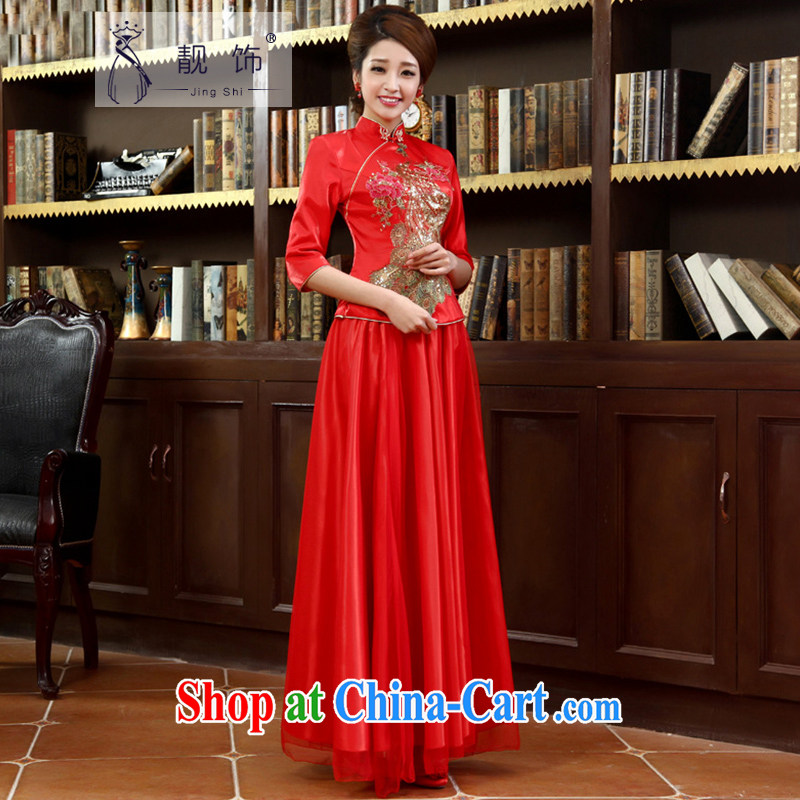 Beautiful ornaments 2015 new cheongsam long red retro toast clothing winter marriages Kit outfit, Autumn 022 XL