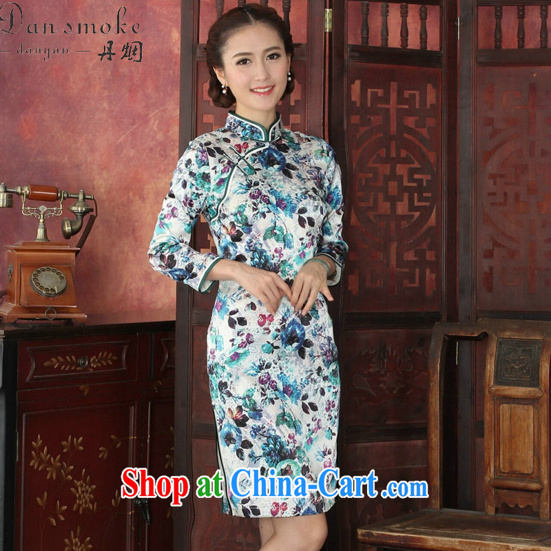 Dan smoke cheongsam dress Chinese silk dos santos Chinese, for long-sleeved dresses antique dresses annual graphics thin silk dress 1029 #2 XL