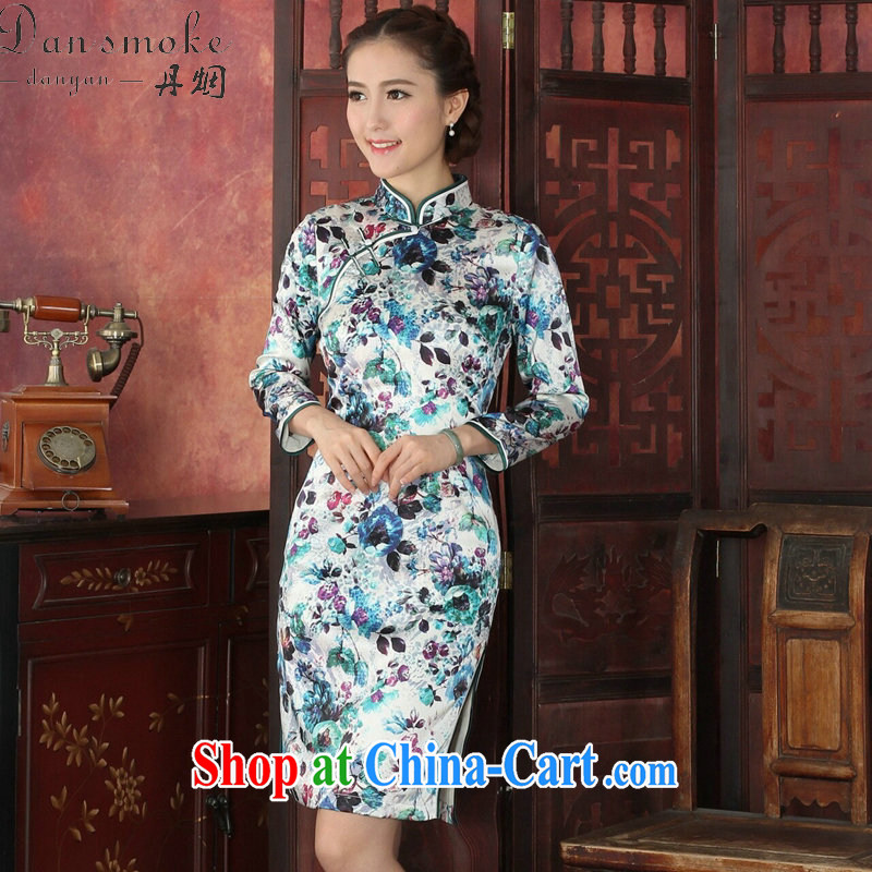 Dan smoke cheongsam dress Chinese silk sauna Chinese, for long-sleeved dresses antique dresses annual graphics thin silk dress 1029 #2 XL, Bin Laden smoke, shopping on the Internet