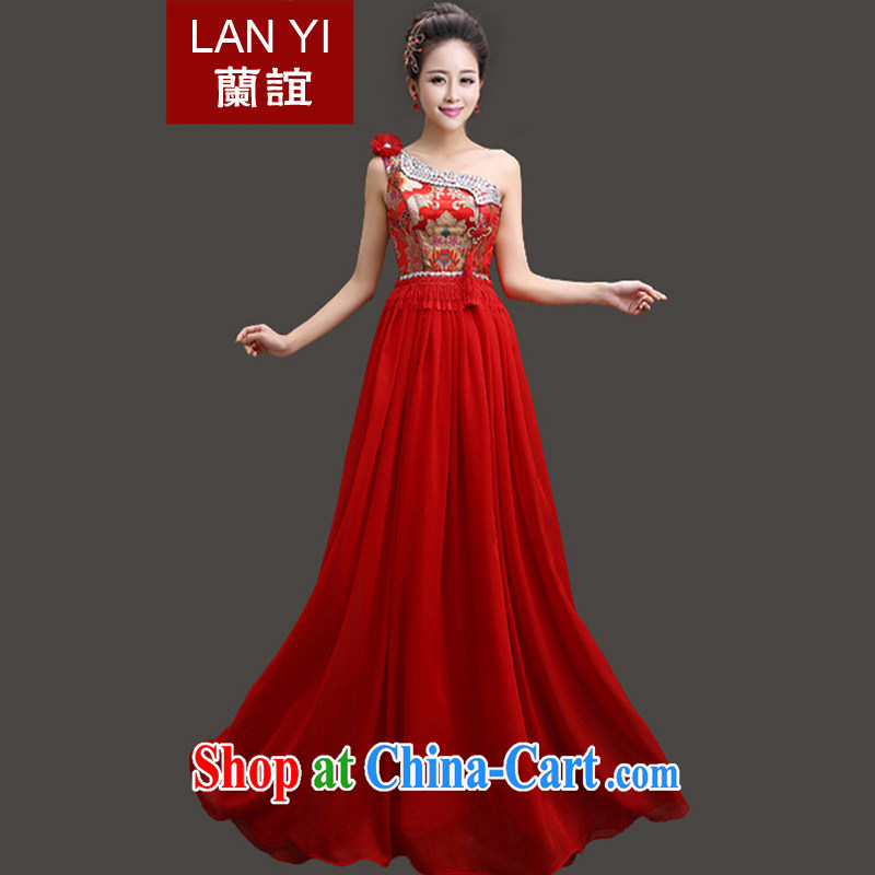 Friends, spring 2015 new marriages chest bare cheongsam dress Chinese single-diamond jewelry dress bridal toast dress single shoulder XL code waist 2.2 feet