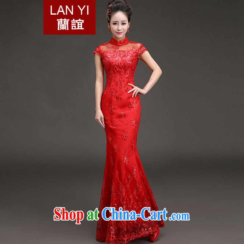 Friends, spring 2015 new bride wedding dress retro, for crowsfoot cheongsam dress toast wedding dress Red Red XL code waist 2.2 feet